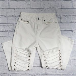 CARMAR Hermia Lace Up Knee Jeans White SZ 25